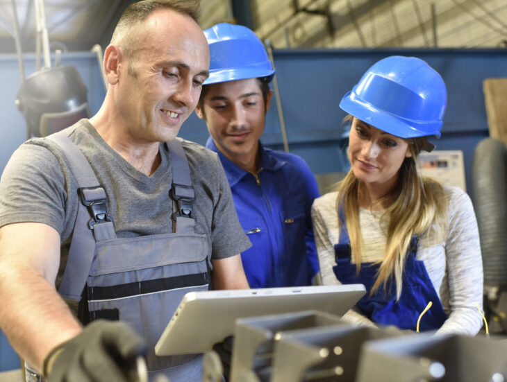Young people in metallurgy training class